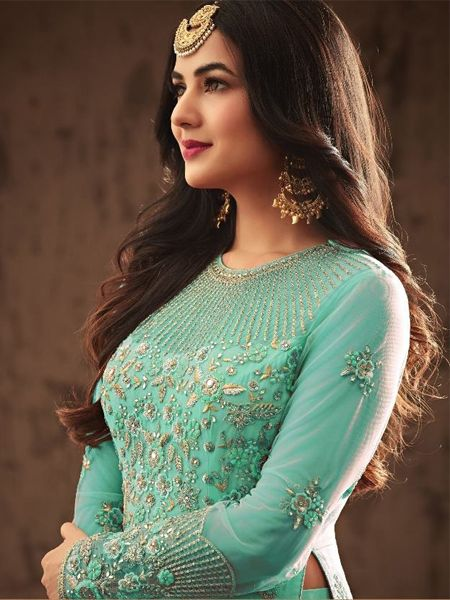 Blue Heavy Embroidered Anarkali Gown