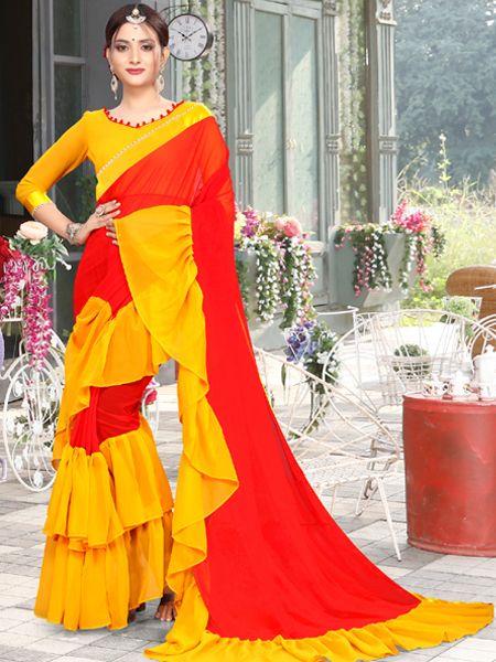 Designer Ruffle Red Georgette Saree