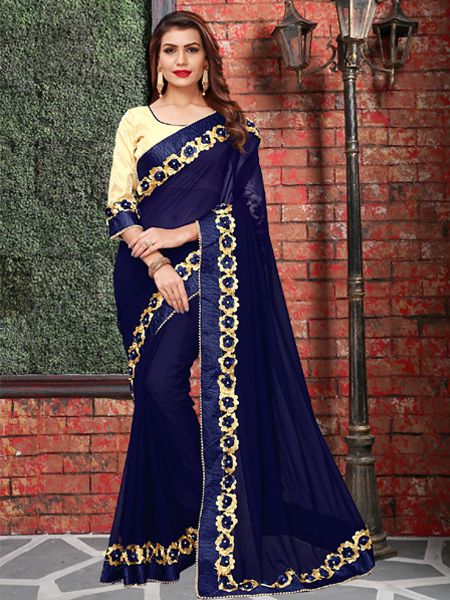 Designer Georgette Saree in Blue