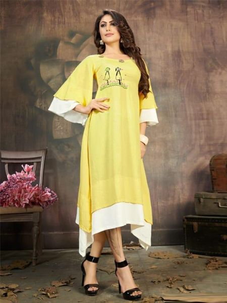 Buy Yellow and White Long Layered Kurti Online in India- YOYO Fashion