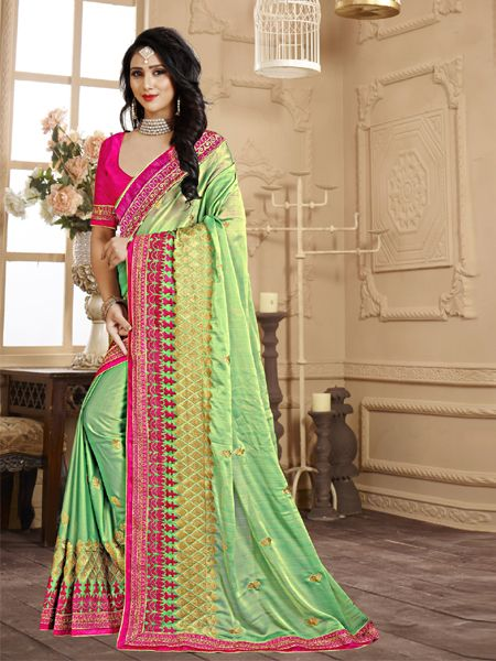 Buy Designer Green Embroidery Saree Online in India- YOYO Fashion