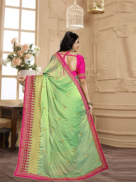 Designer Green Embroidery Saree