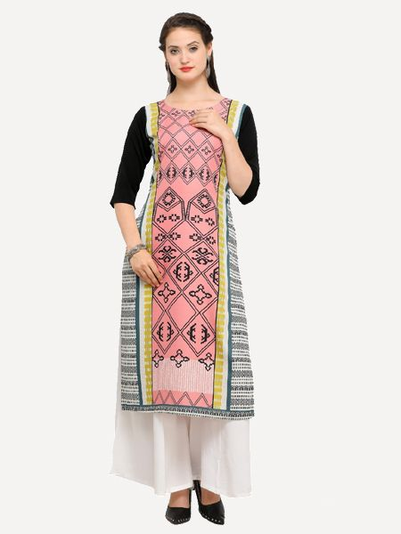 Peach Printed Straight Kurti