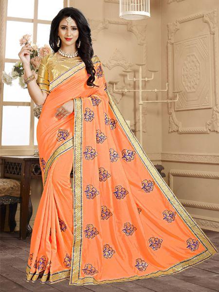 Latest Design Orange Embroidery Saree