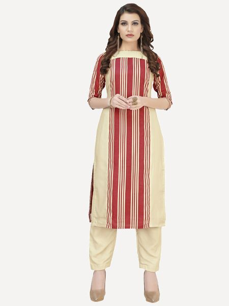 Beige and Red Striped Straight Kurti