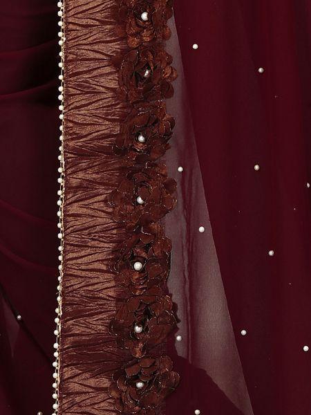 Latest Design Brown Georgette Saree