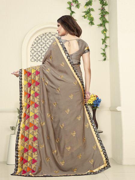 Designer Beige Mirror Work Silk Saree