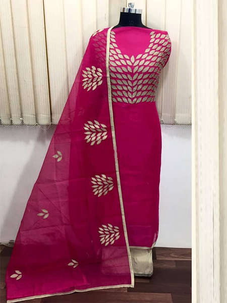 Buy Pink Embroidered Silk Dress Material Online in India - YOYO Fashion