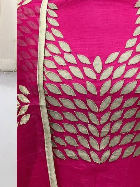 Pink Embroidered Silk Dress Material