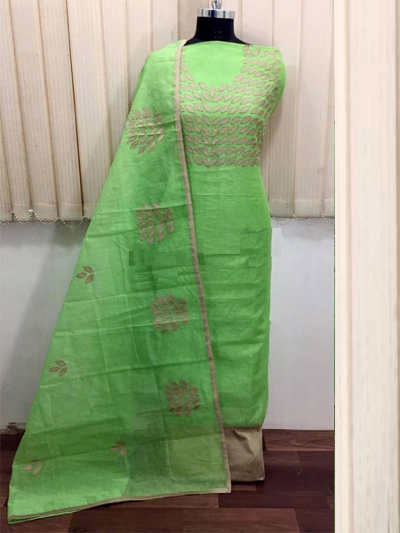 Buy Green Embroidered Silk Dress Material Online in India