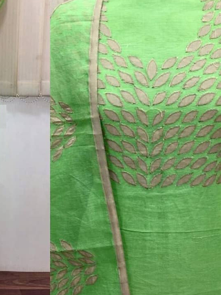 Green Embroidered Silk Dress Material