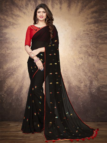 Designer Black Silk Saree