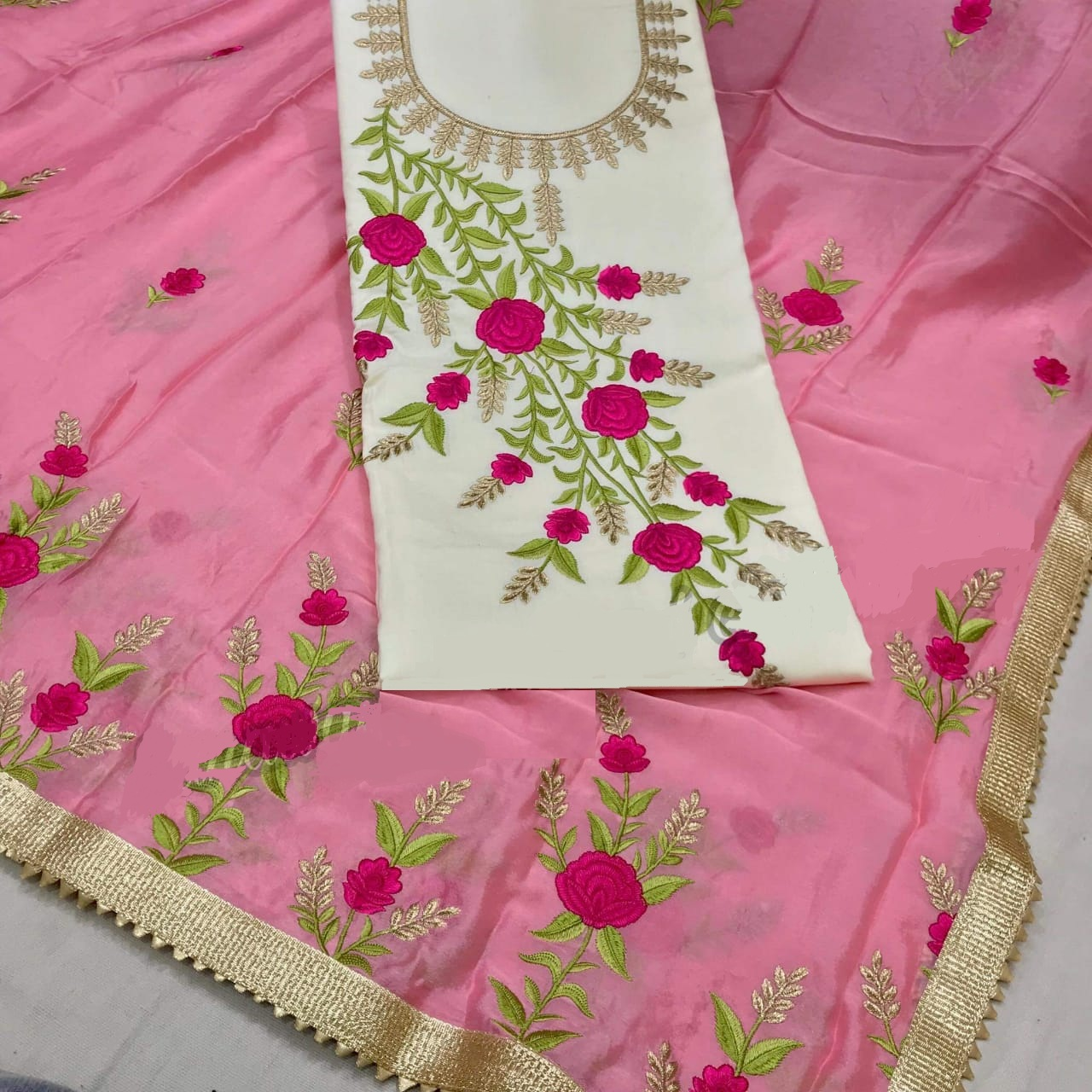 Buy White Cotton Salwar Suit With Pink Dupatta Online in India - YOYO Fashion