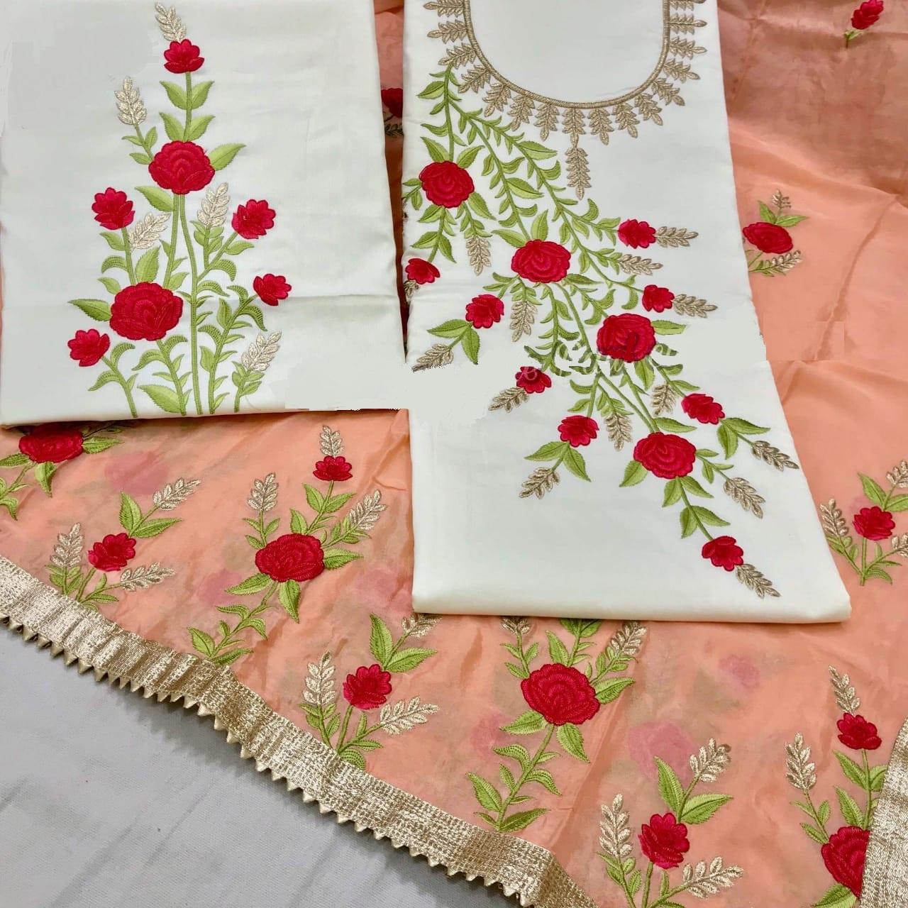 Buy White Cotton Salwar Suit With Orange Dupatta Online in India - YOYO Fashion