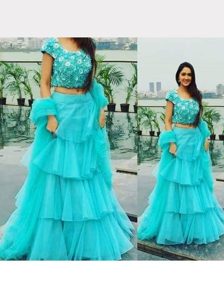 Sky Blue Partywear Ruffle Lehenga Choli