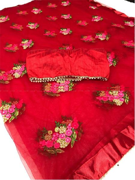 Buy Designer Red Net Saree Online in India- YOYO Fashion