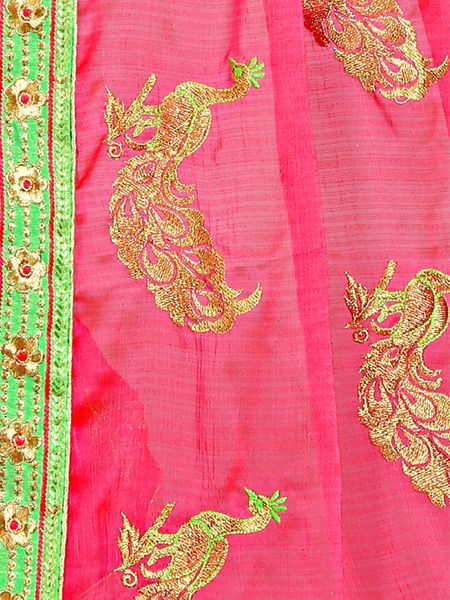 Designer Pink Embroidery Saree