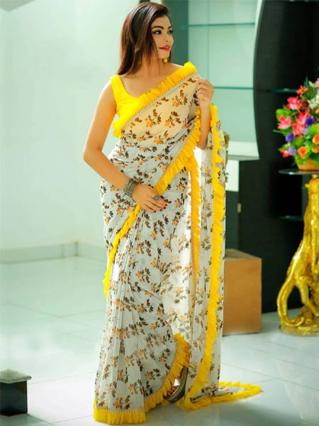 White and Yellow  Georgette Ruffle Saree