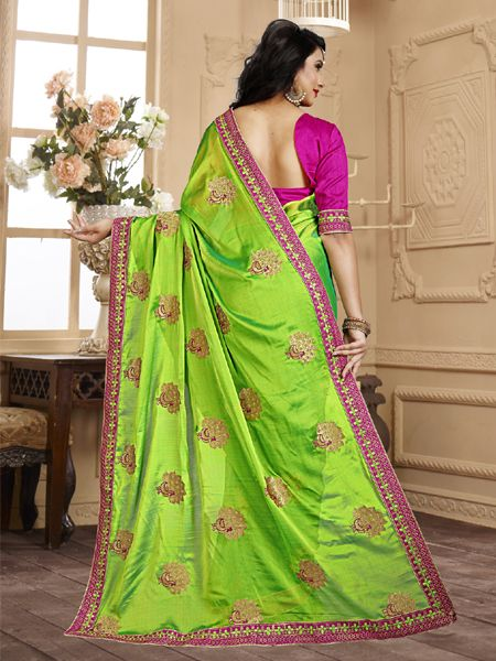 Latest Design Light Green Embroidery Saree