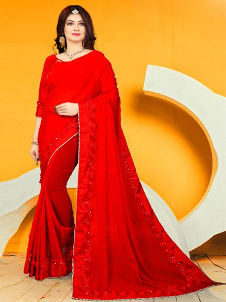 Buy Latest Design Red Georgette SareeOnline in India- YOYO Fashion