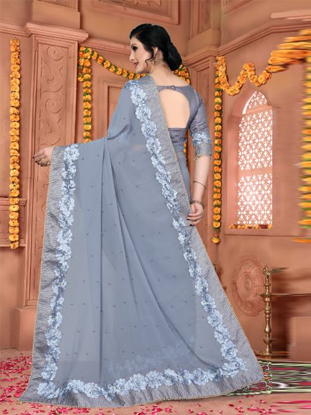 Latest Design Grey Georegette Saree