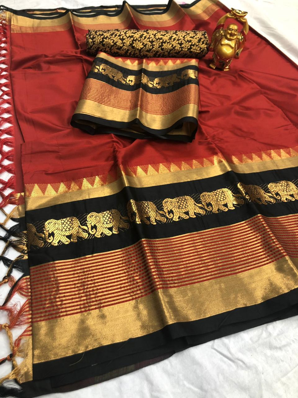 Buy Multicolor and Golden Cotton Silk Aura Saree Online in India- YOYO Fashion