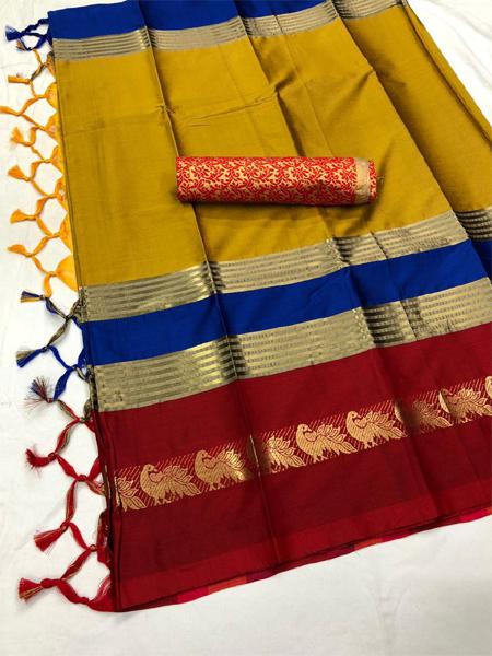 Golden and Multicolor Cotton Silk Aura Saree