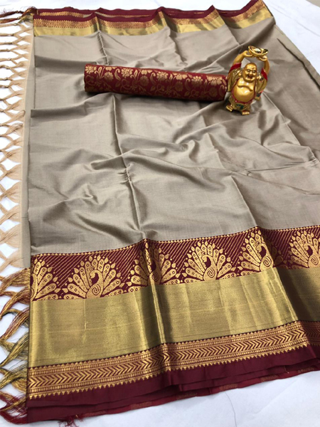 Beige and Red Peacock Design Cotton Silk Saree