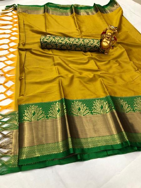 Yellow and Green Peacock Design Cotton Silk Saree