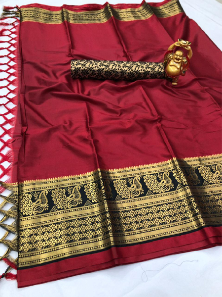 Buy Red and Black Silk Border Saree Online in India -YOYO Fashion
