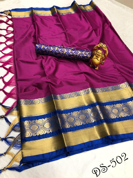 Buy Magenta and Blue Soft Silk Saree Online in India - YOYO Fashion