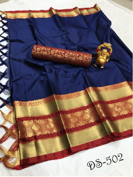 Buy Blue and Orange Soft Silk Saree Online in India - YOYO Fashion