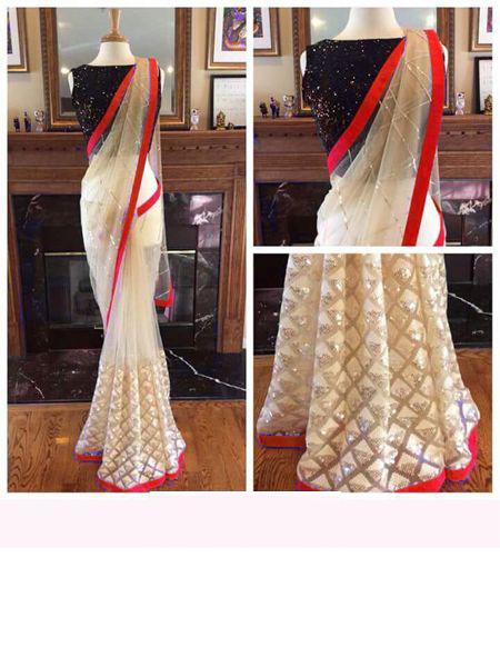 Buy Designer White and Red Net Saree Online in India - YOYO Fashion