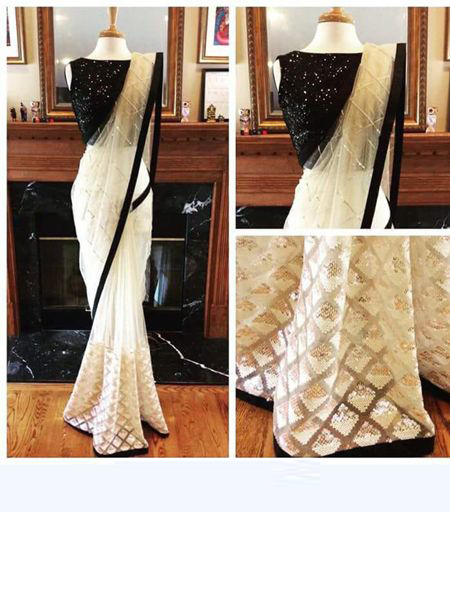 Designer White and Black Net Saree