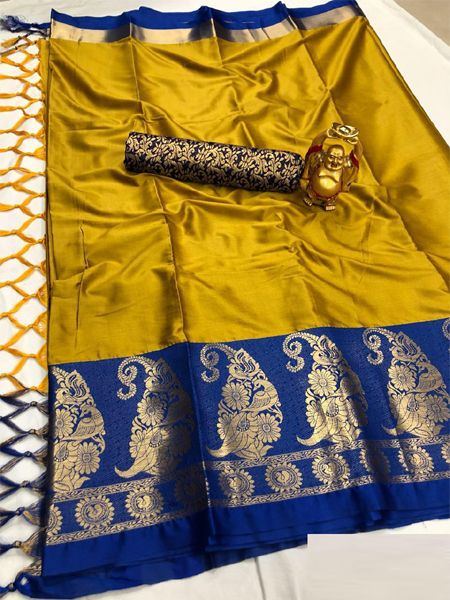 Traditional Yellow and Blue Cotton Silk Saree