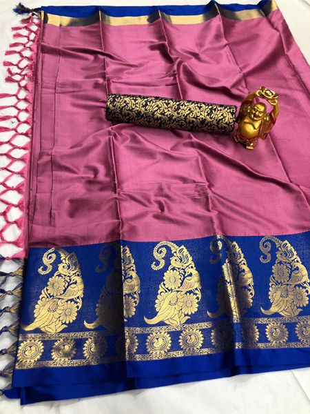 Traditional Pink and Blue Cotton Silk Saree