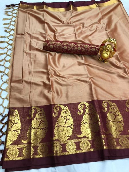 Traditional Peach and Brown Cotton Silk Saree