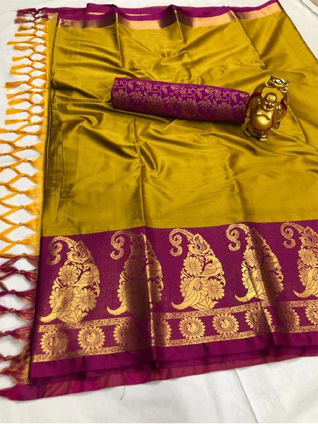 Traditional Yellow and Pink Cotton Silk Saree