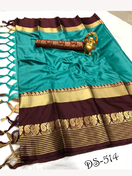Fancy Firoji Cotton Silk Saree With Blouse