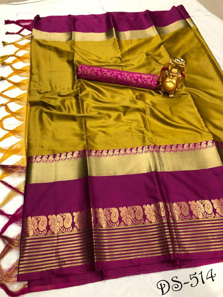 Fancy Yellow Cotton Silk Saree With Blouse