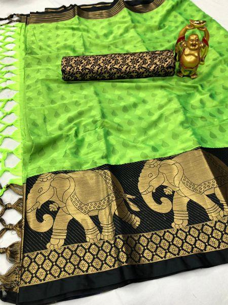 Black and Green Elephant Motif Silk Saree