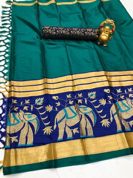 Traditional Firoji and Blue Cotton Silk Saree