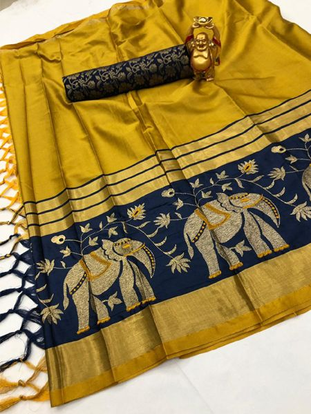 Traditional Blue and Yellow Cotton Silk Saree