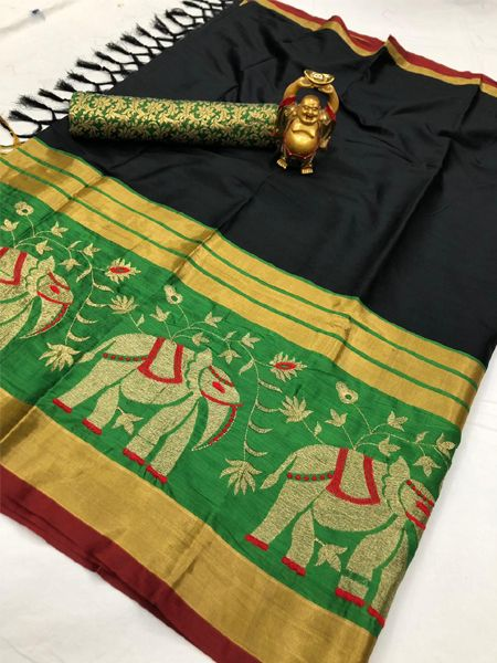 Buy Traditional Black and Green Cotton Silk Saree Online in India- YOYO Fashion