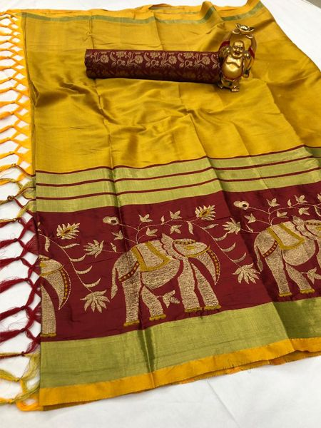 Buy Traditional Yellow and Red Cotton Silk Saree Online in India- YOYO Fashion