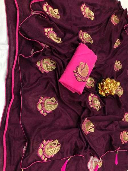 Buy Wine Peacock Motif Soft Silk Saree Online in India - YOYO Fashion