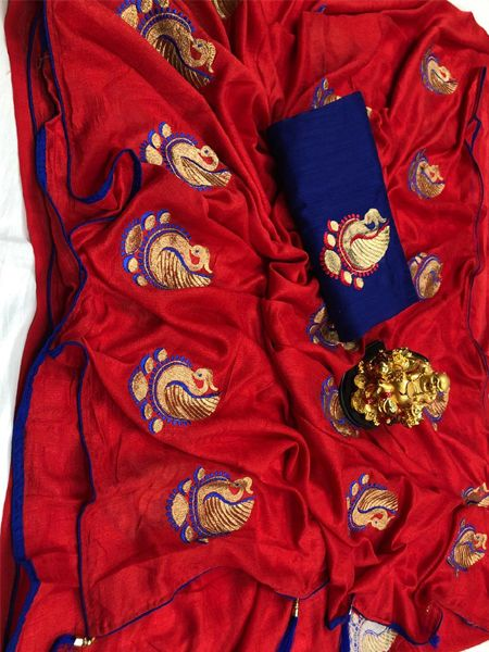 Buy Red Peacock Motif Soft Silk Saree Online in India - YOYO Fashion