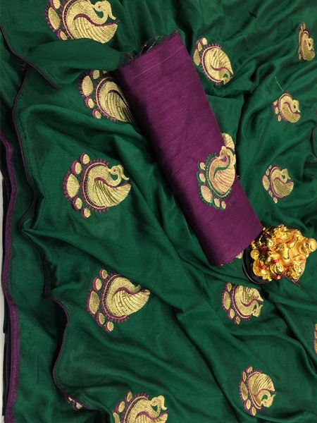 Buy Green Peacock Motif Soft Silk Saree Online in India - YOYO Fashion