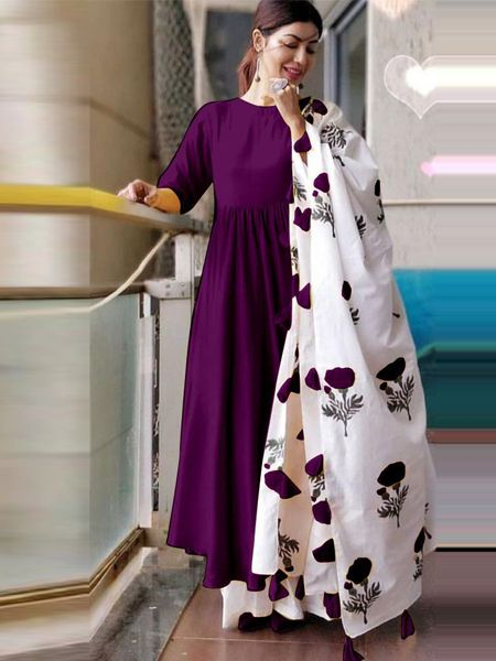 Plain Purple Kurta Set