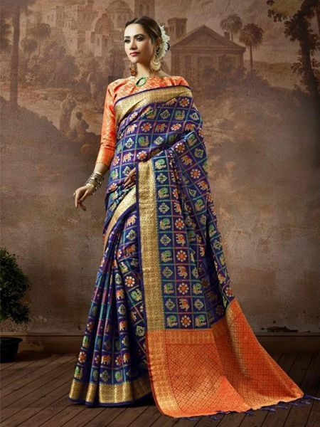 Blue Checked Patola Silk Saree